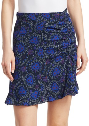 Derek Lam 10 Crosby Floral-Print Ruched Silk Mini Skirt