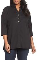 Foxcroft Plus Size Women's 'Pamela' Button Back Non-Iron Tunic Shirt