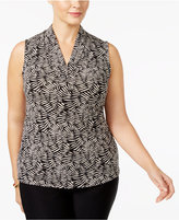 Anne Klein Plus Size Printed Pleated Top