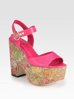 Alice + Olivia Quinley Lizard-Print Leather Paint Splatter Sandals