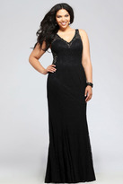Faviana 9386 Lace v-neck plus size evening dress with illusion sides