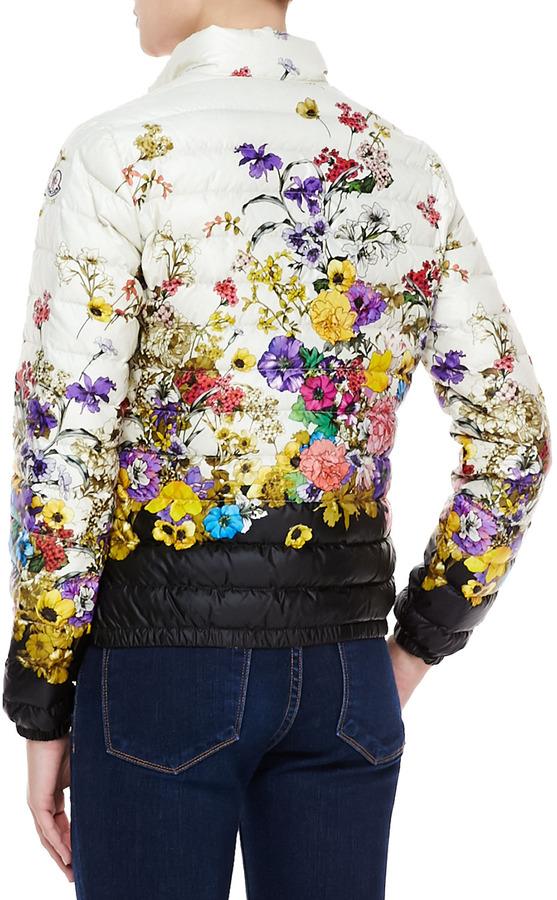 Moncler Short Floral-Print Puffer Coat, White/Black/Multi