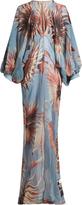 ADRIANA DEGREAS Floral-print balloon-sleeve silk maxi dress