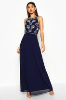 boohoo Boutique Aine Floral Top High Neck Maxi Dress