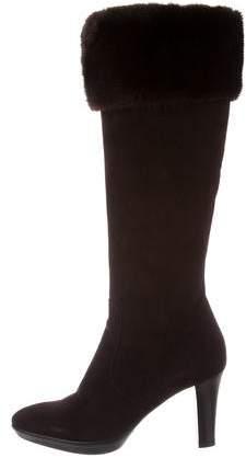 Aquatalia Suede Fur-Trimmed Boots