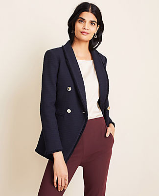 Ann Taylor Double Breasted Tweed Blazer