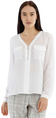 Tokito White Zip Front Shirt