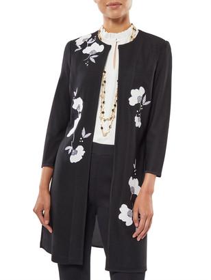 Misook Plus Size Floral Applique Knit Duster