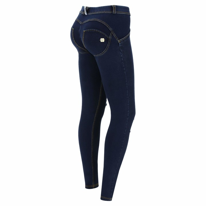 Freddy WR.UP Regular-Rise Skinny-fit Trousers in Denim-Effect Jersey - Dark Jeans-Yellow Seam - Large