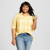 Ava & Viv Women's Plus Size Button Down Shirt Yellow Plaid