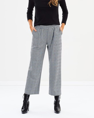 Privilege Women's Black Cropped Pants - Relaxed Check Pants - Size One Size, 10 at The Iconic