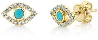 Ron Hami 14K Yellow Gold Diamond & Turquoise Evil Eye Stud Earrings - 0.12 ctw