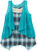 Beautees Teal Plaid Sidetail Tank & Vest - Girls