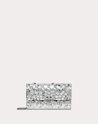 Valentino Garavani Rockstud Spike.it Metallic Polymer Crossbody Clutch With Flowers Women Silver OneSize