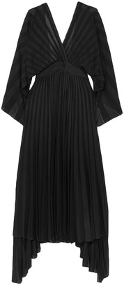Valentino Asymmetric Open-back Pleated Stretch-knit Dress