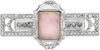 1928 Downton Abbey Silver Tone Square Rose Quartz Bar Pin