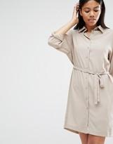 Love Long Sleeve Belted Shirt Dress