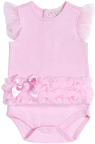 Cutie Pie Baby Pink Ruffle-Accent Angel-Sleeve Bodysuit - Infant