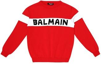 Balmain Kids Logo cotton sweater