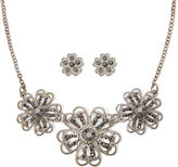 Liz Claiborne Marcasite Silver-Tone Flower Earring and Necklace Set