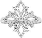 14k White Gold 3/8 Carat T.W. Diamond Snowflake Ring