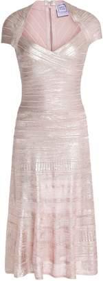 Herve Leger Pleated Metallic Bandage Dress