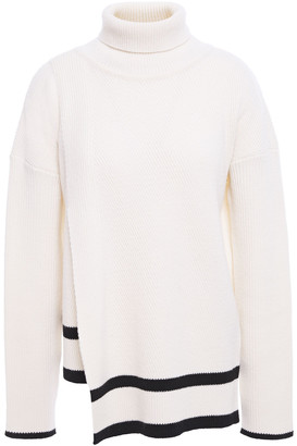 Markus Lupfer Asymmetric Striped Ribbed Wool Turtleneck Sweater