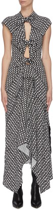Proenza Schouler Polka dot cutout gathered handkerchief sleeveless midi dress
