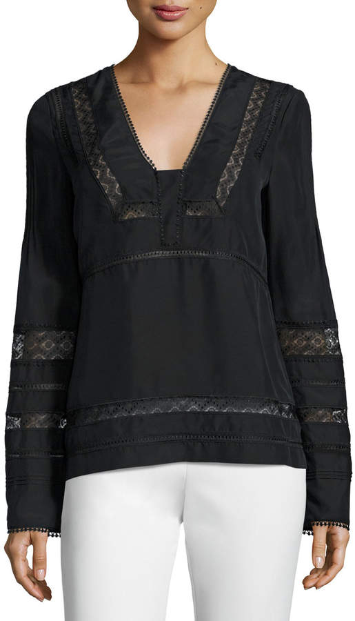 Derek Lam 10 Crosby Long-Sleeve Silk Lace-Trim Blouse, Black