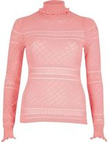 River Island Womens Pink ruffle turtleneck sweater