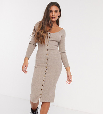 Fashion Union Petite knitted midi dress with button front