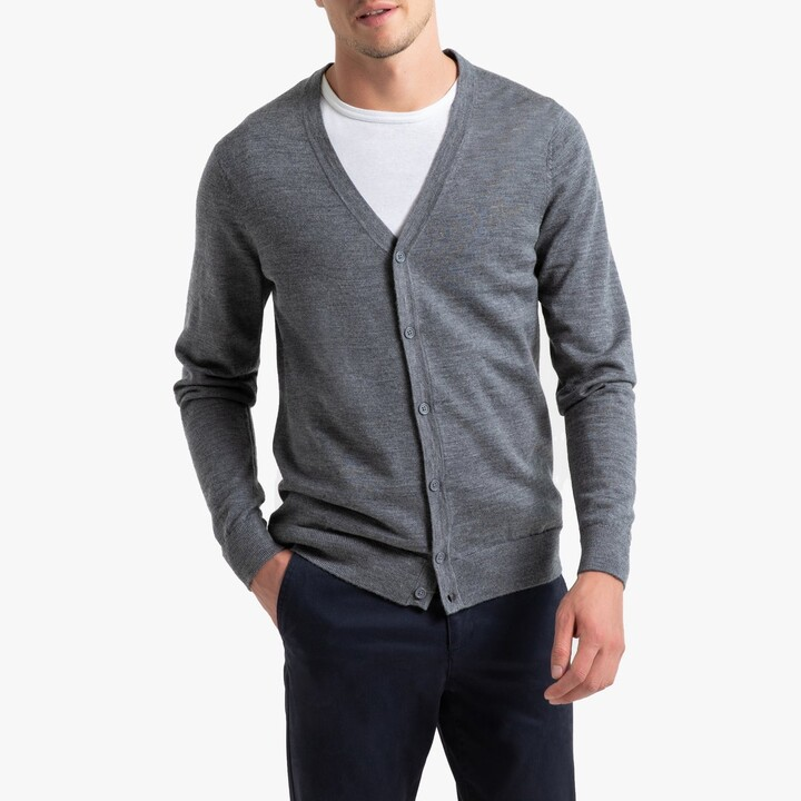 La Redoute Collections Merino Wool Buttoned Cardigan