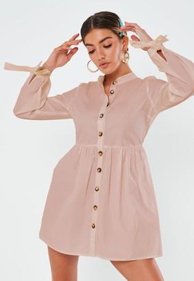Missguided Blush Tie Cuff Smock Shirt Dress