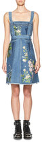 Alexander McQueen Floral-Embroidered Denim Dress, Blue