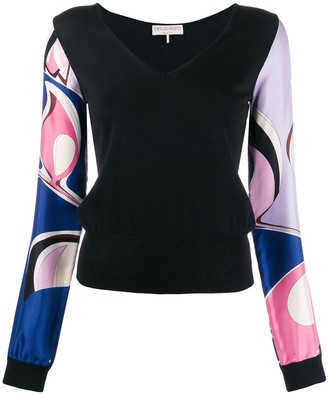 Emilio Pucci contrast printed sleeves top