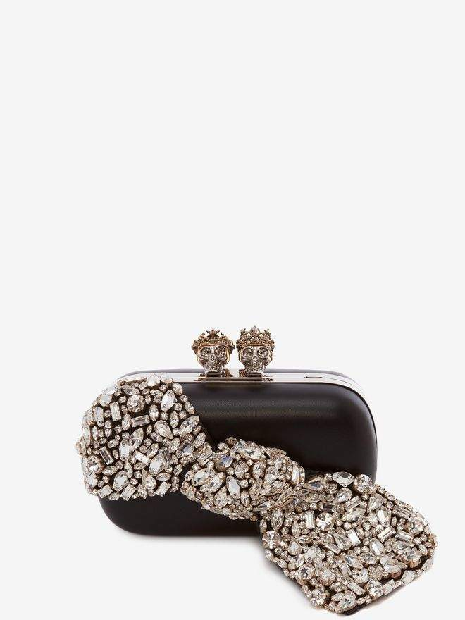 "Alexander McQueen ""Queen And King"" Skeleton Box Clutch With Crystal Bow"