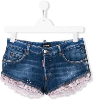 DSQUARED2 TEEN lace embellished denim shorts