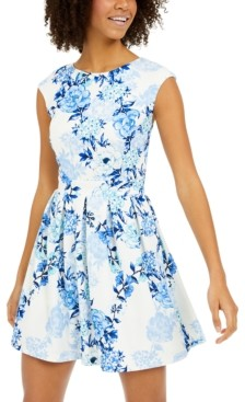 Emerald Sundae Juniors' Floral-Print Fit & Flare Dress