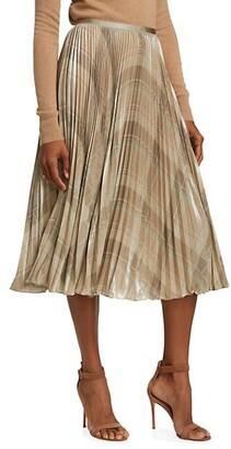 Polo Ralph Lauren Metallic Plaid Pleated Skirt