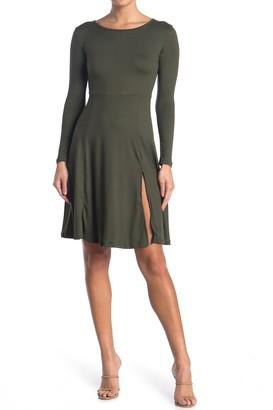 Velvet Torch Long Sleeve Front Slit Dress