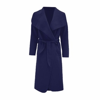 MINNI ROSSA Womens Ladies Italian Trench Long Coat Waterfall Duster Cape Belted Cardigan Jacket Plus Size UK (Navy M-L)