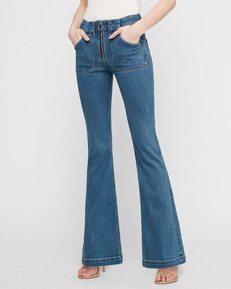 Express High Waisted Denim Perfect Zip Fly Slim Flare Jeans