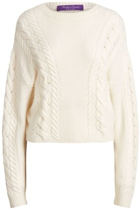 Ralph Lauren Dolman-Sleeve Cable-Knit Cashmere Sweater