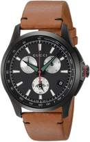 Gucci Men's Swiss Quartz Stainless Steel and Leather Dress Watch, Color:Brown (Model: YA126271)