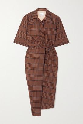 Nanushka Lais Asymmetric Draped Checked Tweed Wrap Dress - Brown