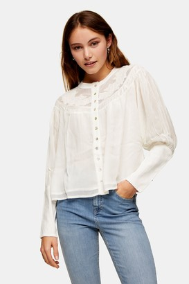 Topshop Ivory Lace Yoke Neck Blouse