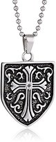 Black Diamond Cold Steel Stainless Steel 0.05Ct Celtic Cross Shield Men's Pendant Necklace, 23.0''