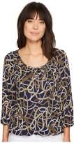 MICHAEL Michael Kors Scattered Tassel Scoop Neck Top Women's Blouse
