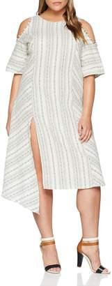 ELVI Women's The Masago Cutout Shoulder Linen-Mix Stripe Dress with Asym Hem