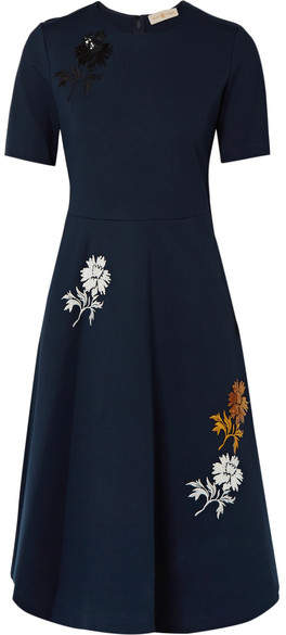 Tory Burch Sequined Embroidered Stretch-ponte Dress - Navy